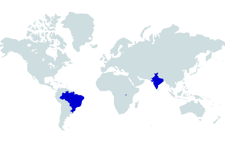 Map of where our award winning coffee is grown - Brazil, Rwanda and India