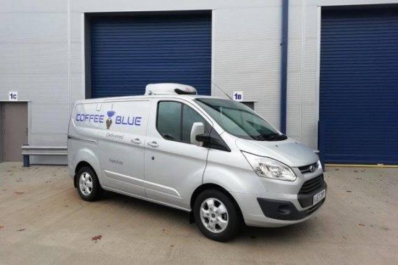 Coffee Blue Van from Side