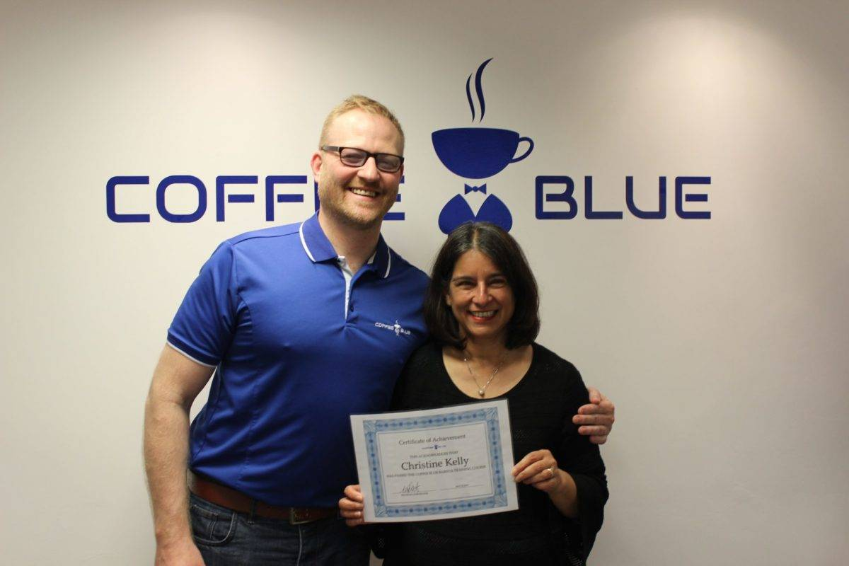 Christine K from Coffee Blue Dartford with UK Franchise manager, Martin