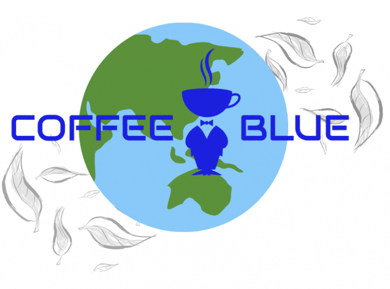 Coffee Blue logo in front of globe